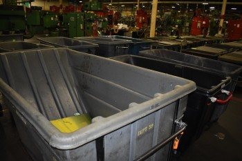 Lot of (3) Plastic Garbage Dump Carts