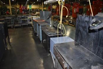Lot of (8) Metal rolling shop Carts