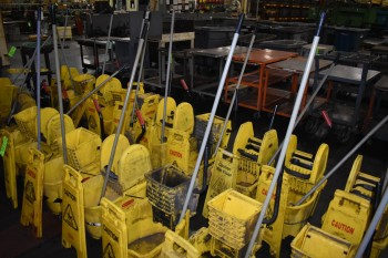 Lot of (10) Rubbermaid mop buckets & Caution sign