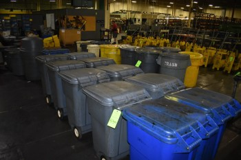 Lot of (11) Plastic Garbage  cans