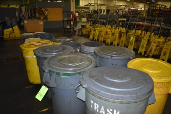 Lot of (17) Plastic Garbage  cans
