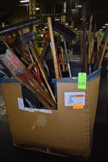 Box of shop Cleaning Supplies, Brooms, Shovels, Mops