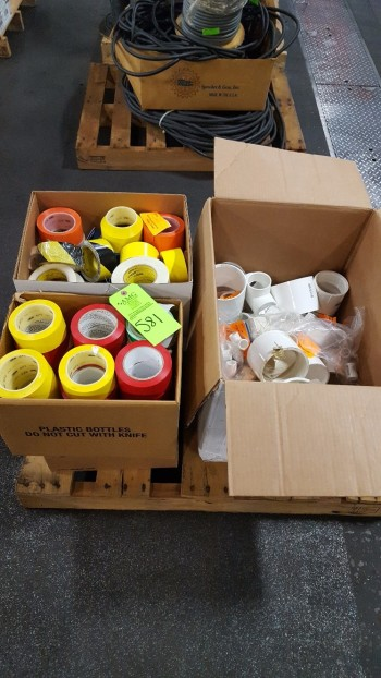 Lot of (2) boxes w/ HD Floor tape, industrial marking tape, plastic plumbing