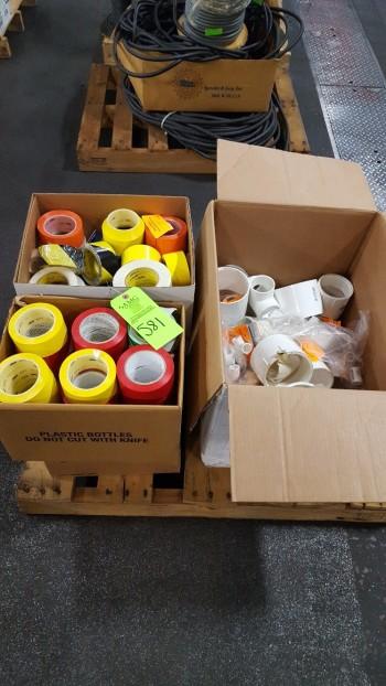 Lot of (2) boxes w/ HD Floor tape, industrial marking tape, plastic plumbing