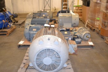 7 PALLETS OF ASSORTED MOTORS 1/4 - 125 HP