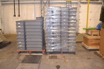 2 PALLETS OF GRAY PLASTIC STORAGE TOTES