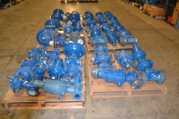 6 PALLETS FOR ASSORTED SIZE ITT DIA-FLO DIAPHRAGM VALVES 1IN-4IN