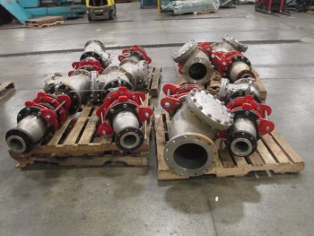 4 PALLETS OF 8IN AND 10IN ALOYCO, 150, CF8M, FLANGED, CHECK VALVES
