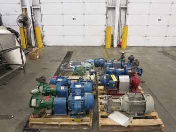 4 PALLETS OF ASSORTED CENTRIFUGAL PUMPS, ANSIMAG, FRISTAM, BELL & GOSSETT