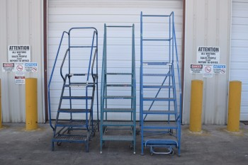 LOT OF 3 ASSORTED ROLLING LADDERS