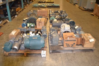 6 PALLETS OF ASSORTED AC ELECTRIC MOTORS, 1/15 HP-25 HP