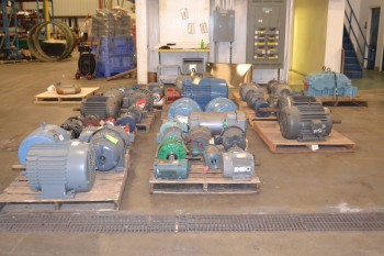 11 PALLETS OF ASSORTED AC/DC ELECTRIC MOTORS, .75 HP-60 HP