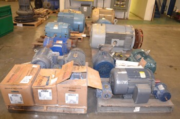9 PALLETS OF ASSORTED ELECTRIC AC/DC MOTORS, 1 HP-200 HP