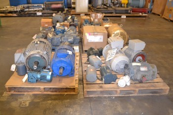 6 PALLETS OF ASSORTED AC ELECTRIC MOTORS, .18 HP-25 HP