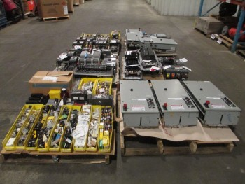 6 PALLETS OF ASSORTED ELECTRICAL EQUIPMENT, EATON, GE, ALLEN-BRADLEY
