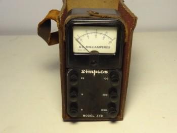 Simpson 378 AC Milliampeters Ampere Meter in Original Leather Case