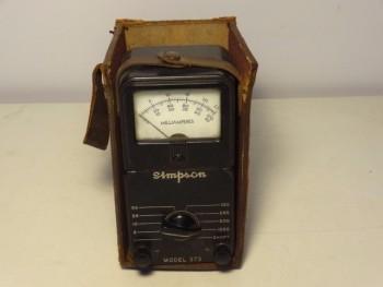 Simpson 373 DC Milliampeters Ampere Meter in Original Leather Case