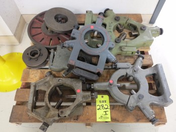 PALLET WITH (5) LATHE CENTER RESTS, (2) FACE PLATES