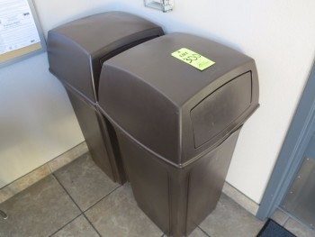 2 RUBBERMAID TRASH CANS
