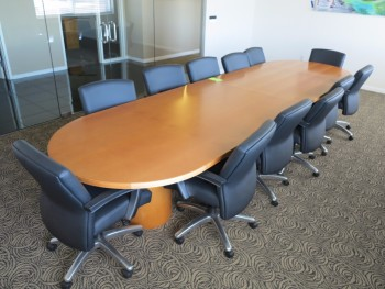 16'X4' CONFERENCE TABLE W/ 12 CHAIRS