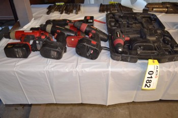 LOT OF ASSORTED ELECTRIC DRILLS AND RIGHT ANGLE IMPACT DRIVER