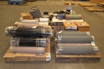 4 PALLETS OF ASSORTED CONVEYOR BELT REPLACEMENT PARTS