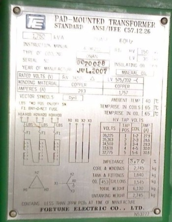 NEW / UNUSED Fortune Electric Tamperproof Padmount Transformers 1750 KVA