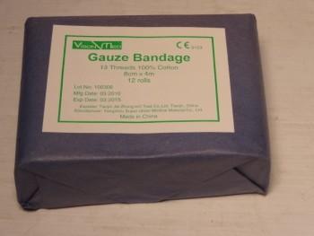 Vision-Med Gauze Bandage 13 Threads 100% Cotton 12 Rolls x 100 Pk