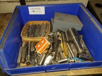 Large Box Of Endmills, Drills, taps