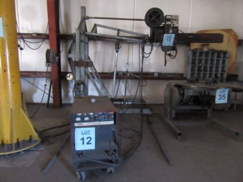 LINCOLN DC-600 WELDER WITH LINCOLN NA-3S WIRE FEEDER AND 2000 LB. JACK STAND, (BACK BUILDING)