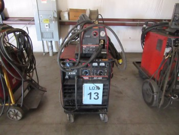 LINCOLN DC-400 WELDER WITH LINCOLN LF-74 WIRE FEEDER AND CART, (BACK BUILDING)