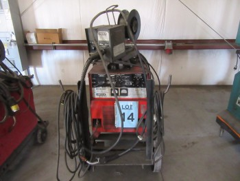 LINCOLN R3S-325 WELDER WITH LINCOLN LN-7 WIRE FEEDER AND CART, (BACK BUILDING)