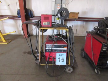 LINCOLN IDEALARC CV-300 WELDER WITH LINCOLN LN-7 WIRE FEEDER AND CART, (BACK BUILDING)