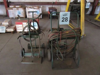 LOT (4) ASST'D WELDING CARTS, HOSES, AND TORCHES, (BACK BUILDING)