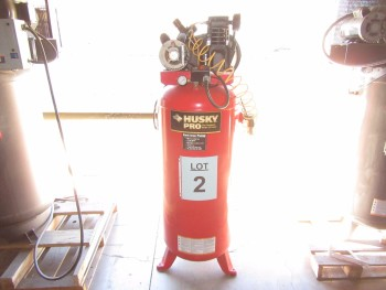 HUSKY 60 GALLON AIR COMPRESSOR, MODEL: VT631403AL, 3.2 HP, 135 MAX PSI, 24/15A/60HZ/1PH, (BACK