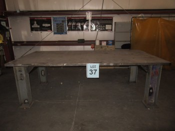 METAL TABLE, 5' W X 121'' L X 39'' HIGH, (BACK BUILDING)