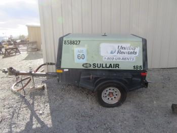 SULLAIR 185 JD DIESEL PORTABLE TRAILER-MOUNTED AIR COMPRESSOR, 185 CFM, 100 PSIG, MAX PRESSURE 125