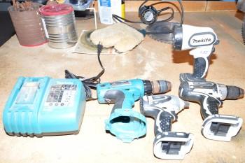 Two Makita Drills, Impact Hammer, Steel Drill