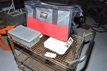 Shop Cart with Rivit Set, Vac. Clamps, Paint Gun, Porter Cable Grinder