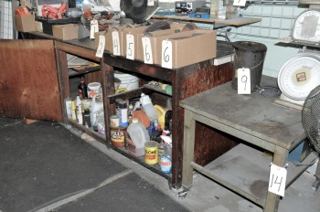 Lot-(1) Work Bench with Contents of Lower Cabinets and (1) Steel