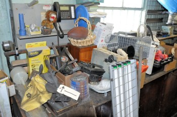 Lot-Assorted Hand Tools, Typewriter, Fans, Portable Lights