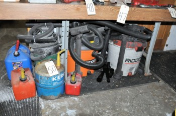 Lot-(1) Shop Vac and (2) Ridgid Shop Vacuums with Attachments