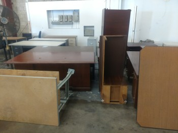 12 Desks, work bench and 2 file cabinets