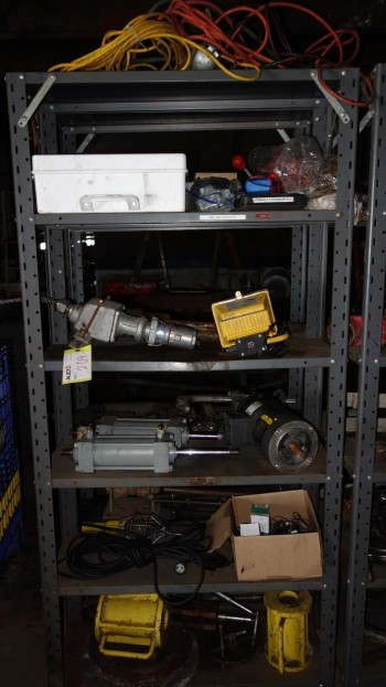 CONTENTS OF SHELF - MISCELLANEOUS ELECTRICAL CONROLS, CYLINDERS, MOTORS