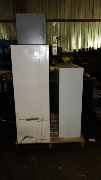 1 PALLET OF ASSORTED OFFICE STEEL SHELVING, CABINETS