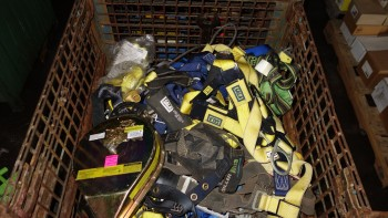 1 CRATE OF ASSORTED LIFE LINES, SAFETY HARNESSES, SALA, MILLER