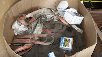 LOT OF ASSORTED SAFETY EQUIPMENT, OIL ABSORBANT SNAKES, SLINGS, MASKS, 3M