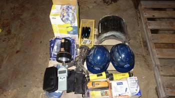 1 PALLET OF ASSORTED SAFETY EQUIPMENT, HARD HATS, EAR PLUGS, GAS DETECTORS