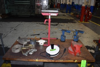 Bench Vise, Pneumatic Riveters, Cordreel, Tie down Straps, roller Stand