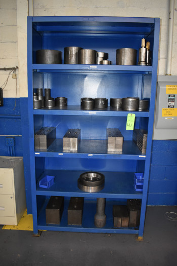 Steel Shelve w/ Contents, Push Blocks, Push Tubes, Shims